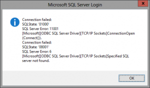 cannot connect to database at SQL server